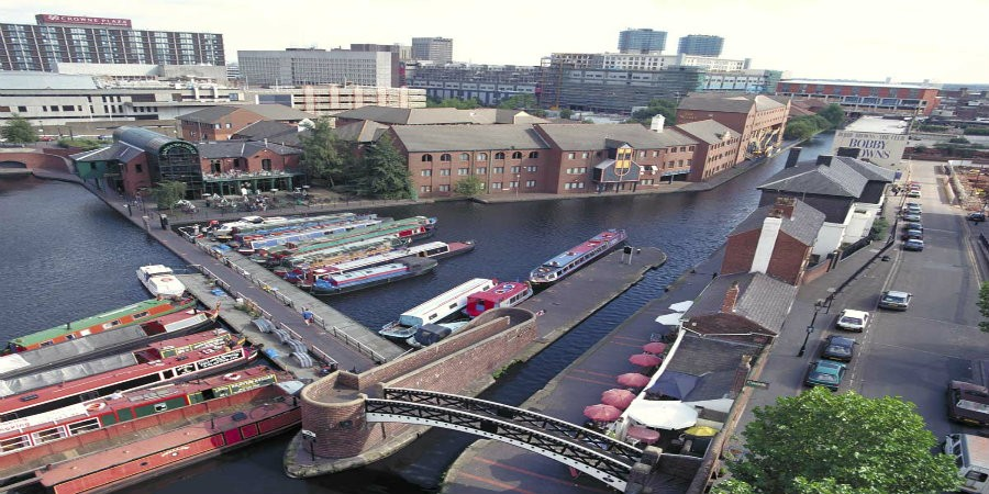 Aerial view of moorings on Birmingham Canal Main Line in Birmingham City Centre