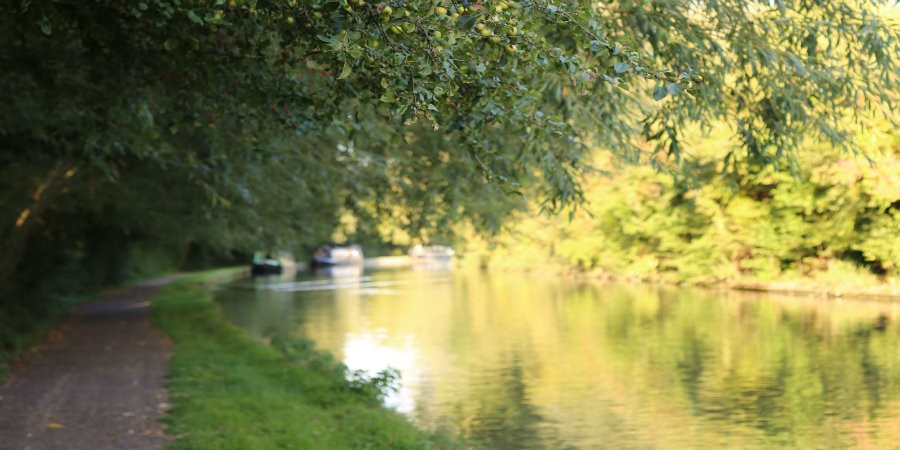 View round a bend on Market Harborough Arm of Grand Union Canal with moored boats in background