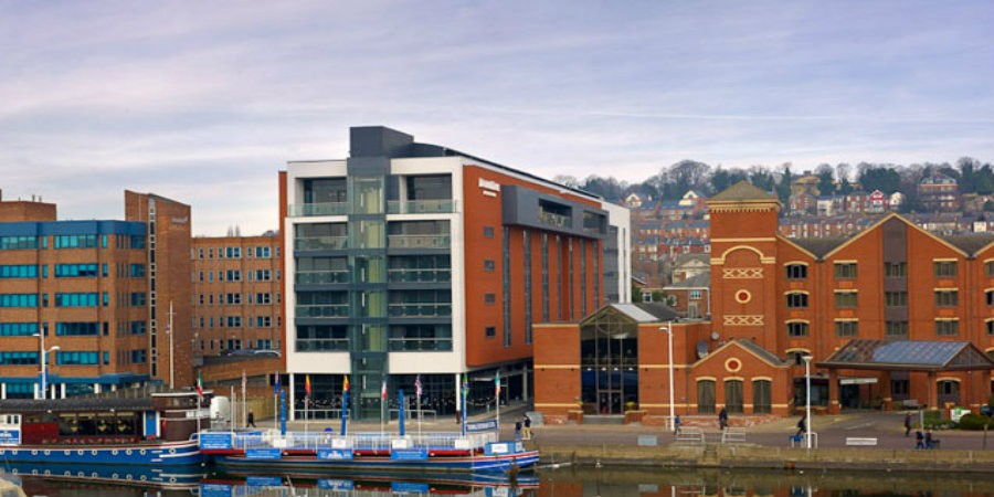 Red brick hotel at Brayford Pool in Lincoln