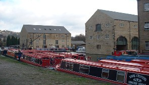 Boats moored at Sowerby Bridge