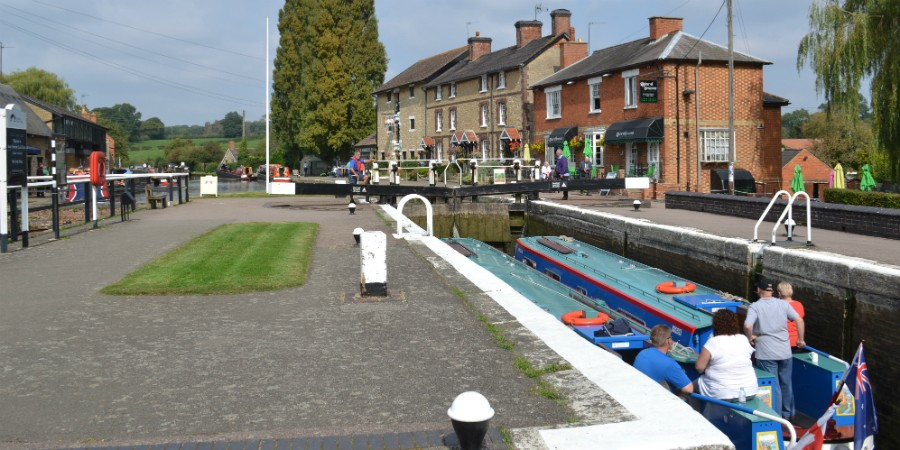 Boats in the locks at Stoke Bruerne