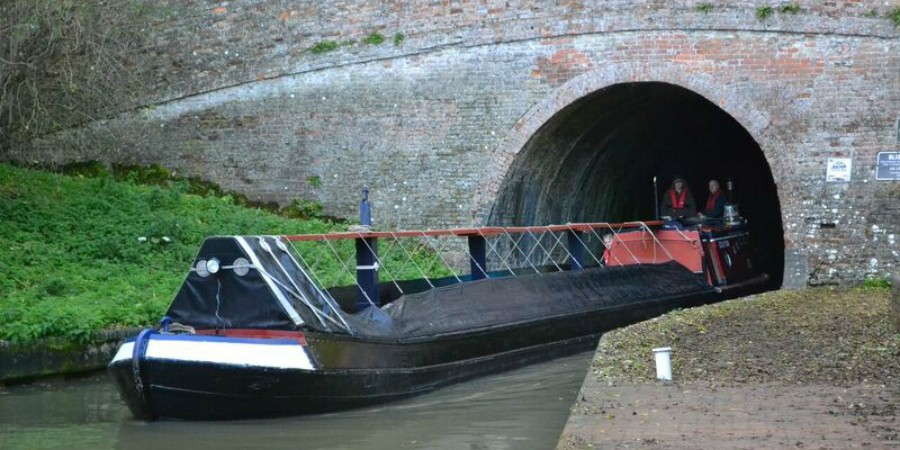 Historic boat at Blisworth Tunnel entrance