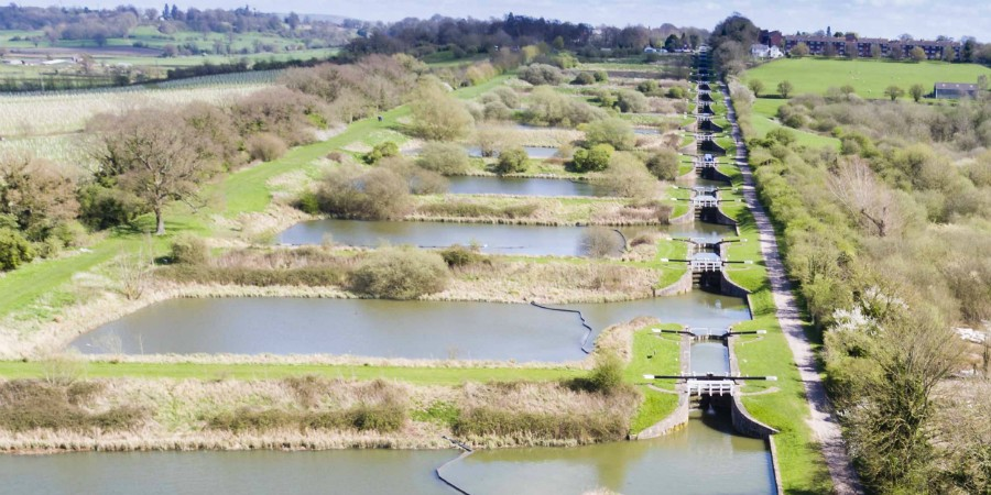 Aerial view of Caen Hill Locks and ponds