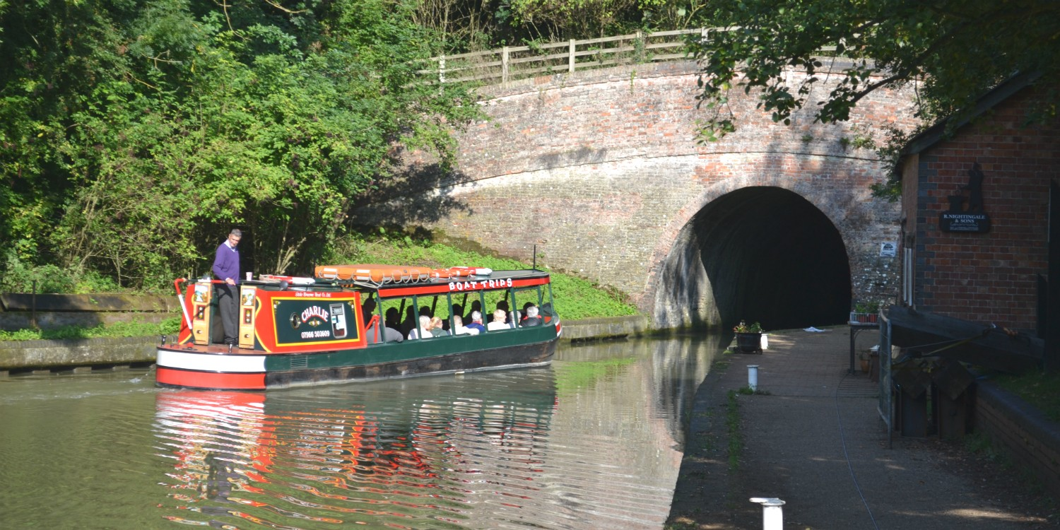 Blisworth tunnel with trip boat