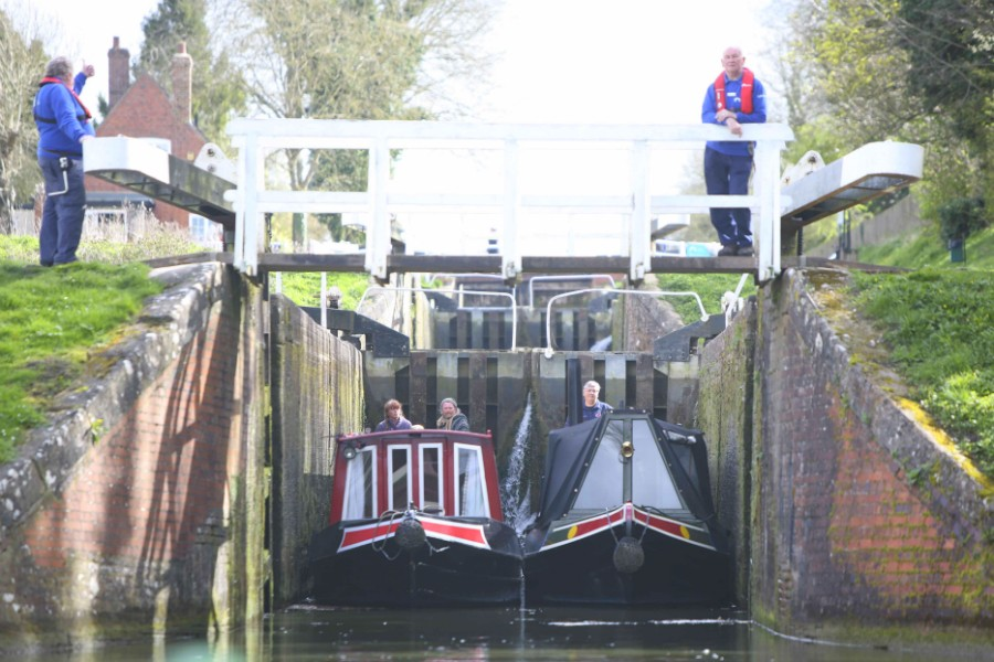Going through the locks at Caen Hill