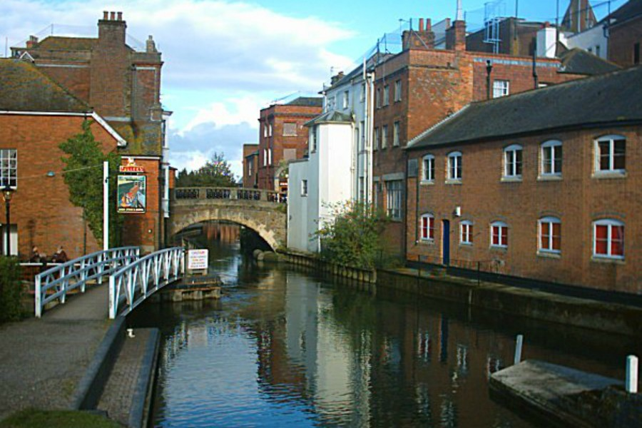 Newbury town centre by the canal