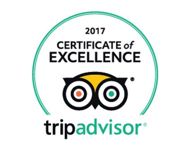 Trip advisor certificate of excellent 2017
