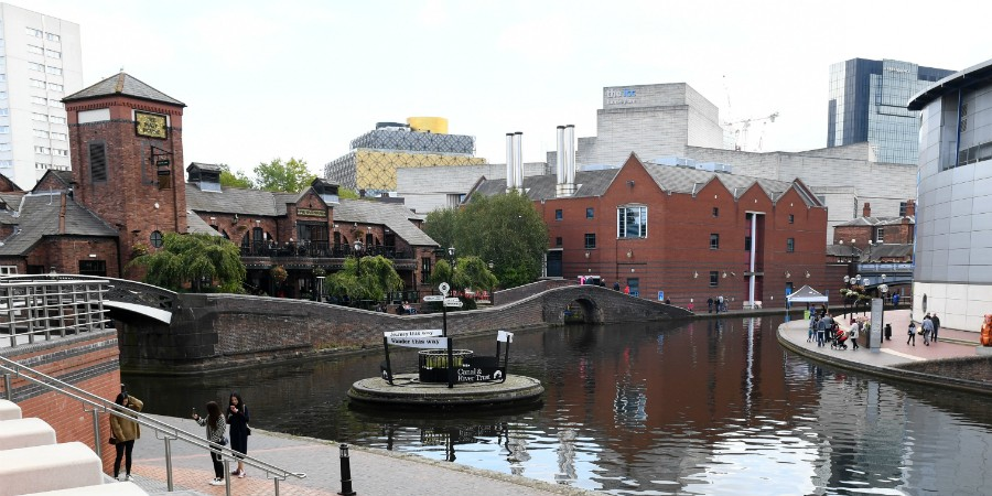Across the canal in Birmingham City centre