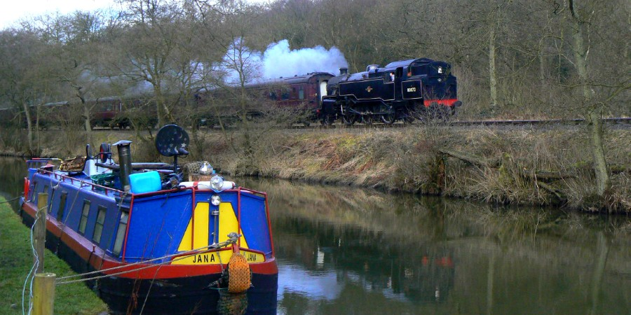 Caldon Canal at Consall with steam train