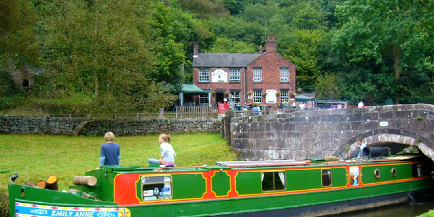 Consall Forge with narrowboat