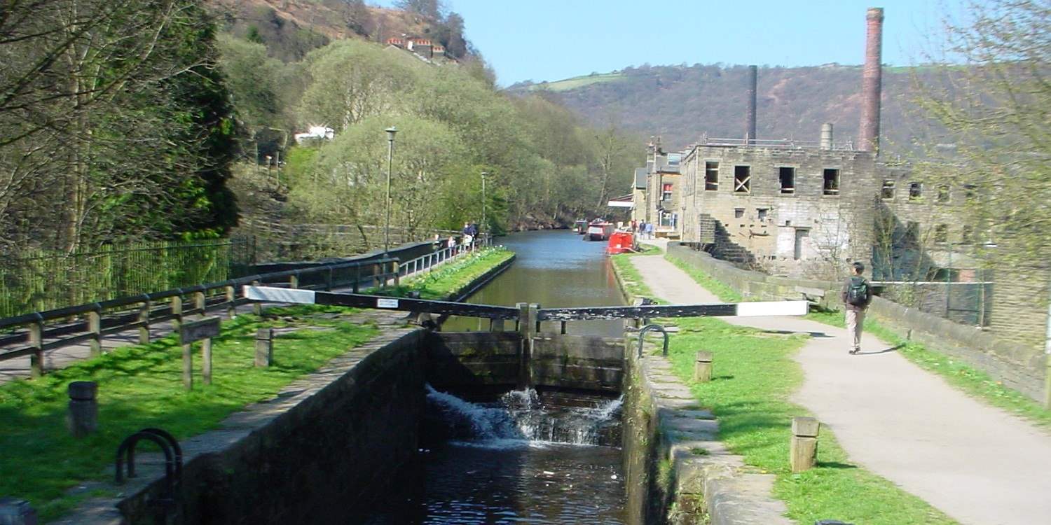 View across the canal at Hebden Bridge