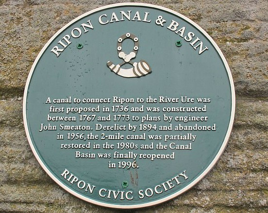 Ripon Canal Basin plaque