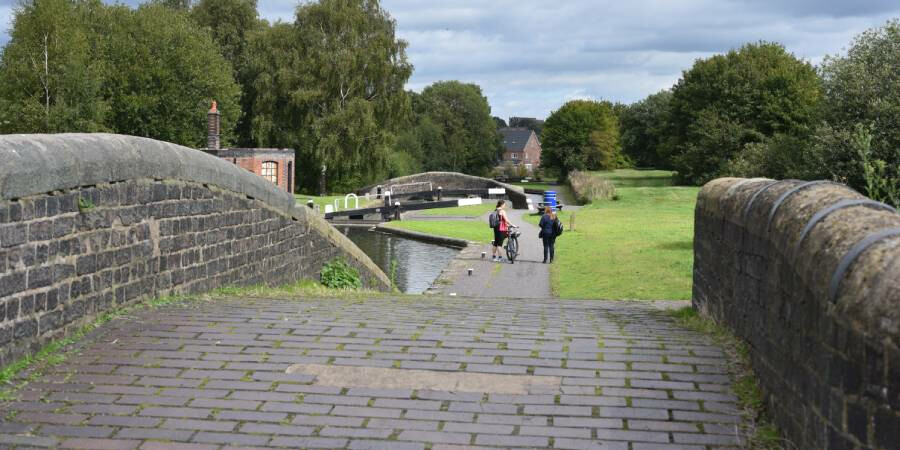 A view of a bridge and canal locks on a walking route near Birmingham