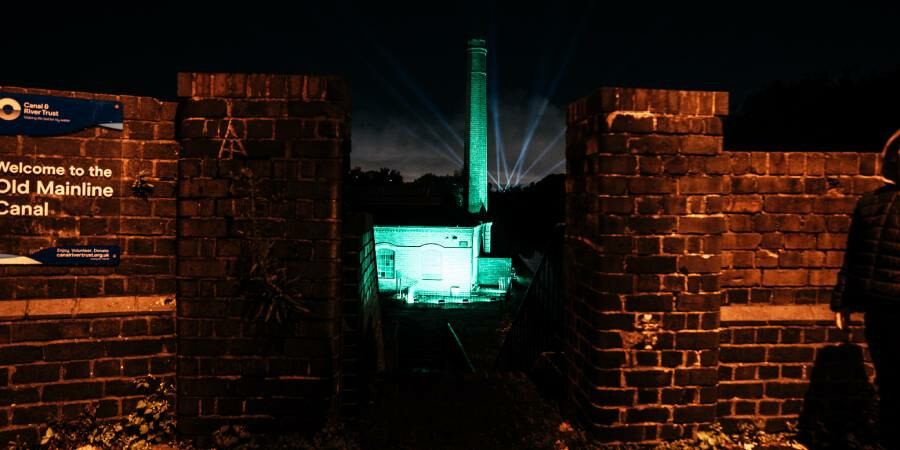 Lighting show at the New Smethwick Pumping Station to celebrate Green Flag Award