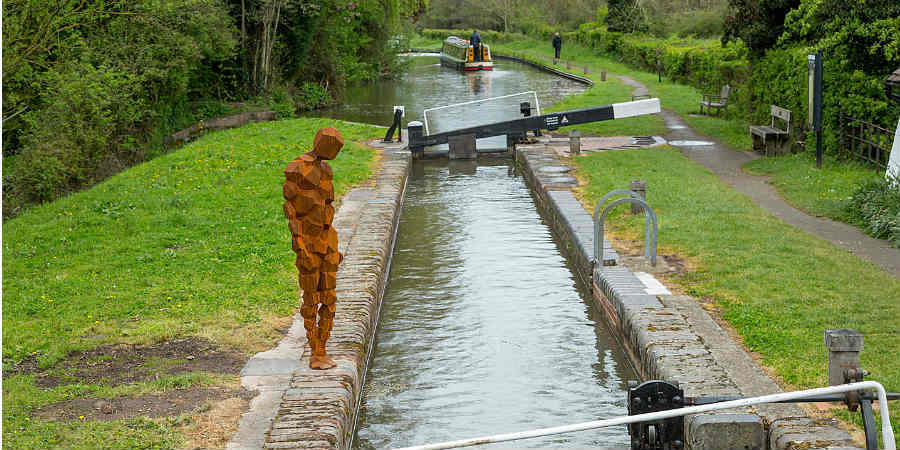 Antony Gormley sculpture at Lengthsman's Cottage