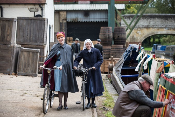 Production still of Call The Midwife BBC show filming by canal