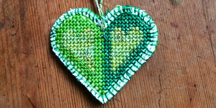 home made green heart badge for show the love day