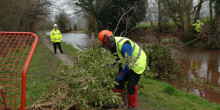 Workmen removing a tree that has fallen over the towpath