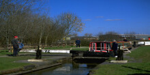 Boat in lock on Trent and Mersey Canal