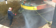 Pressure washing a narrowboat