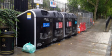 Recycling bins for boaters use in Little Venice, London
