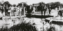 Local men and boys swimming at Silburn Lock c1915 Sheila Nix MBE