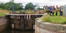 new lock gates at Thornton Lock in summer 2017