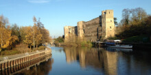 Newark Castle from a bridge over the River Trent