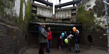Bruerne open day - standing on the floor of a lock