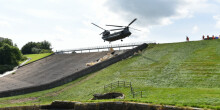 Toddbrook Reservoir: Helicopter over the slipway
