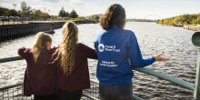 School children looking out to River Tees