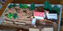Model canal in sand tray