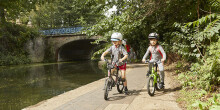 Children cycling on the towpath