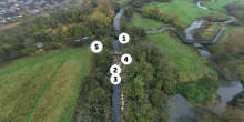 An aerial view of Blue Bank Lock