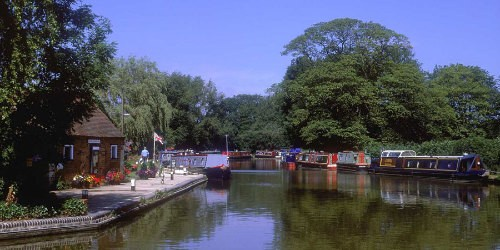 Boats moored along Oxford Canal