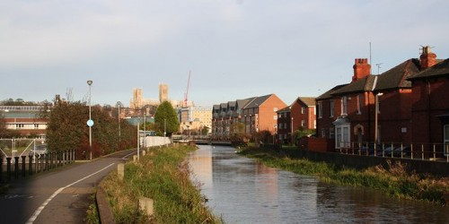 View of River Witham looking towards Lincoln Cathedral