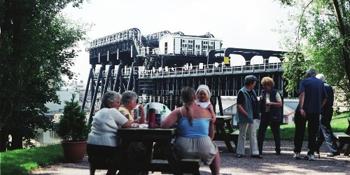 Family having a picnic in the picnic area at Anderton Boat Lift