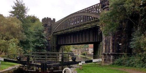 Bridge desingned by George Stephenson. Also known as Iron Donger bridge