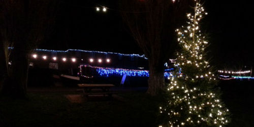 Illuminated boat and christmas lights