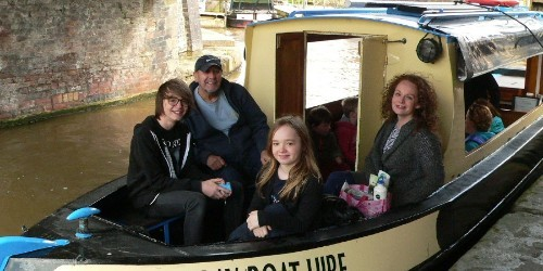 Family out on boat on the canal
