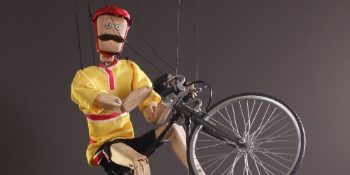 Constantine the Cyclist puppet in action