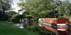 Boats on Chesterfield Canal, with people on grassy towpath