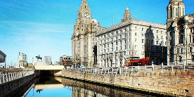 View of Liverpool Canal Link with Liver Building on right