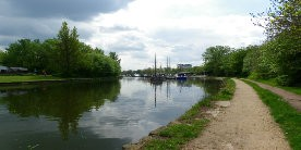 St Helens Canal with boats moored in backgroun