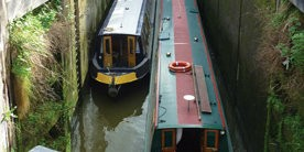 Two boats in Deep Lock in Bath