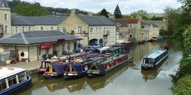 Narrowboats moored at Sydney Wharf on Kennet & Avon Canal