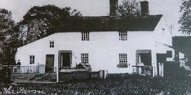 Black and white photo of Five Rise farmhouse