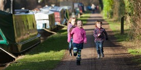 Children having fun along the canal