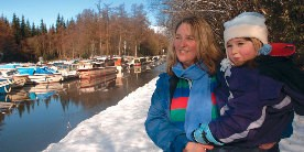 Family on the canal in winter