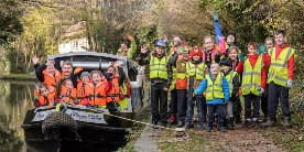 1st Billesley Scout group waving at the camera on the North Stratford Canal